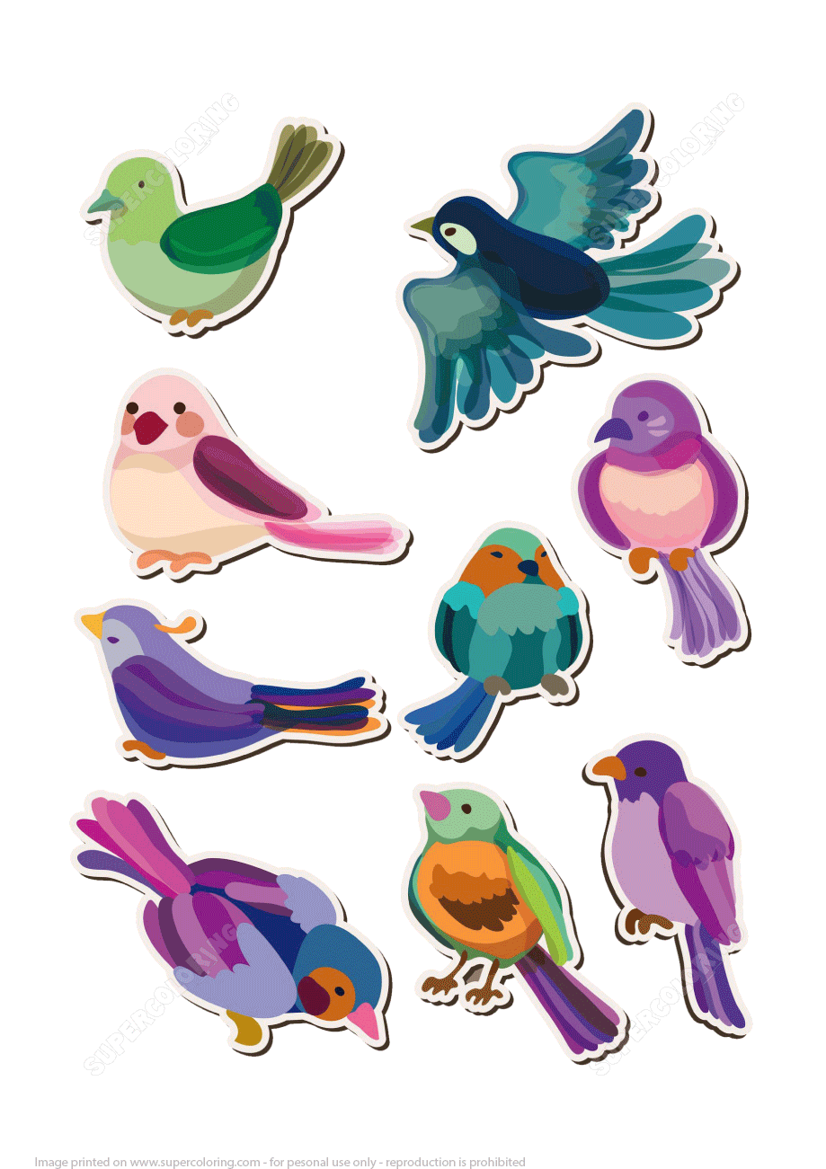 Printable Bird Stickers
