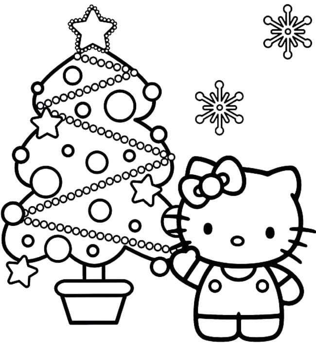 Printable Hello Kitty Coloring Pages Christmas