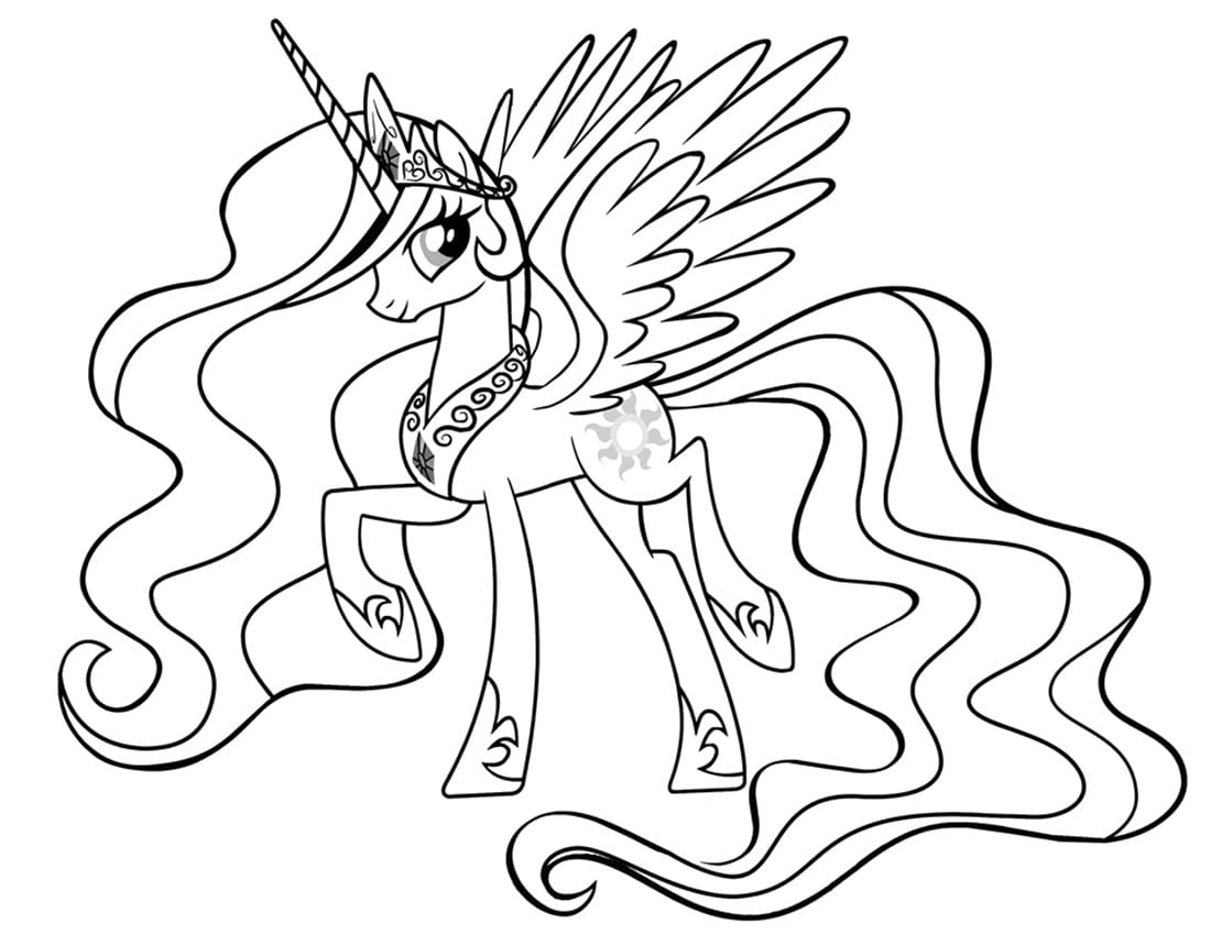 Printable Princess Celestia Coloring Page