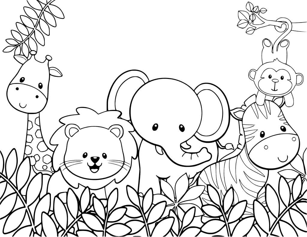 Safari Coloring Page Pages Animals Free With