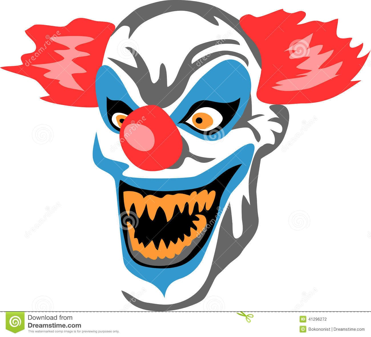 Scary Clown Stock Vector  Illustration Of Crazy, Horror