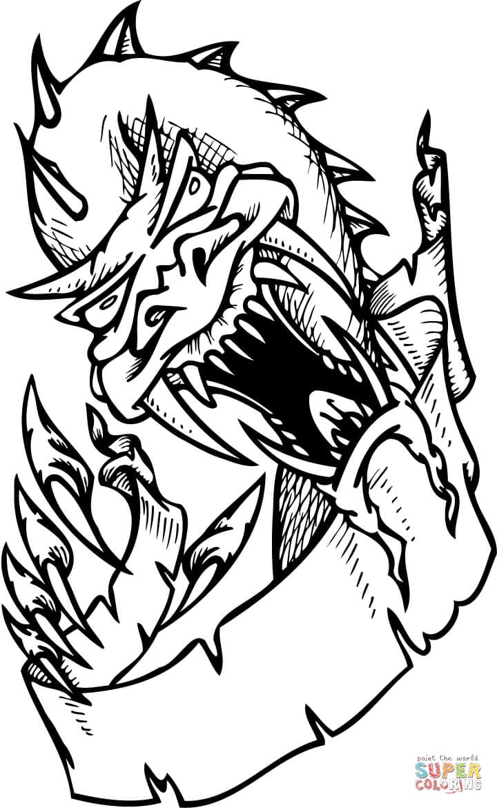 Scary Dragon Coloring Page