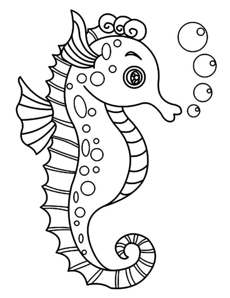 Seahorse Outline Coloring Pages Throughout Coloring Page