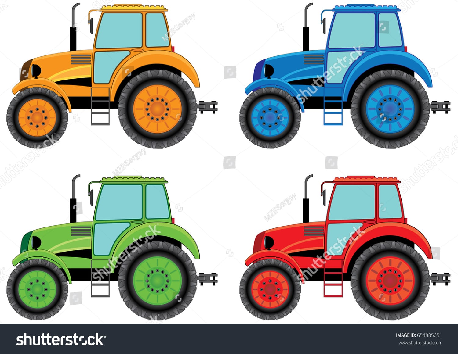 Set Color Wheel Agricultural Tractors Print Stock Vector (royalty
