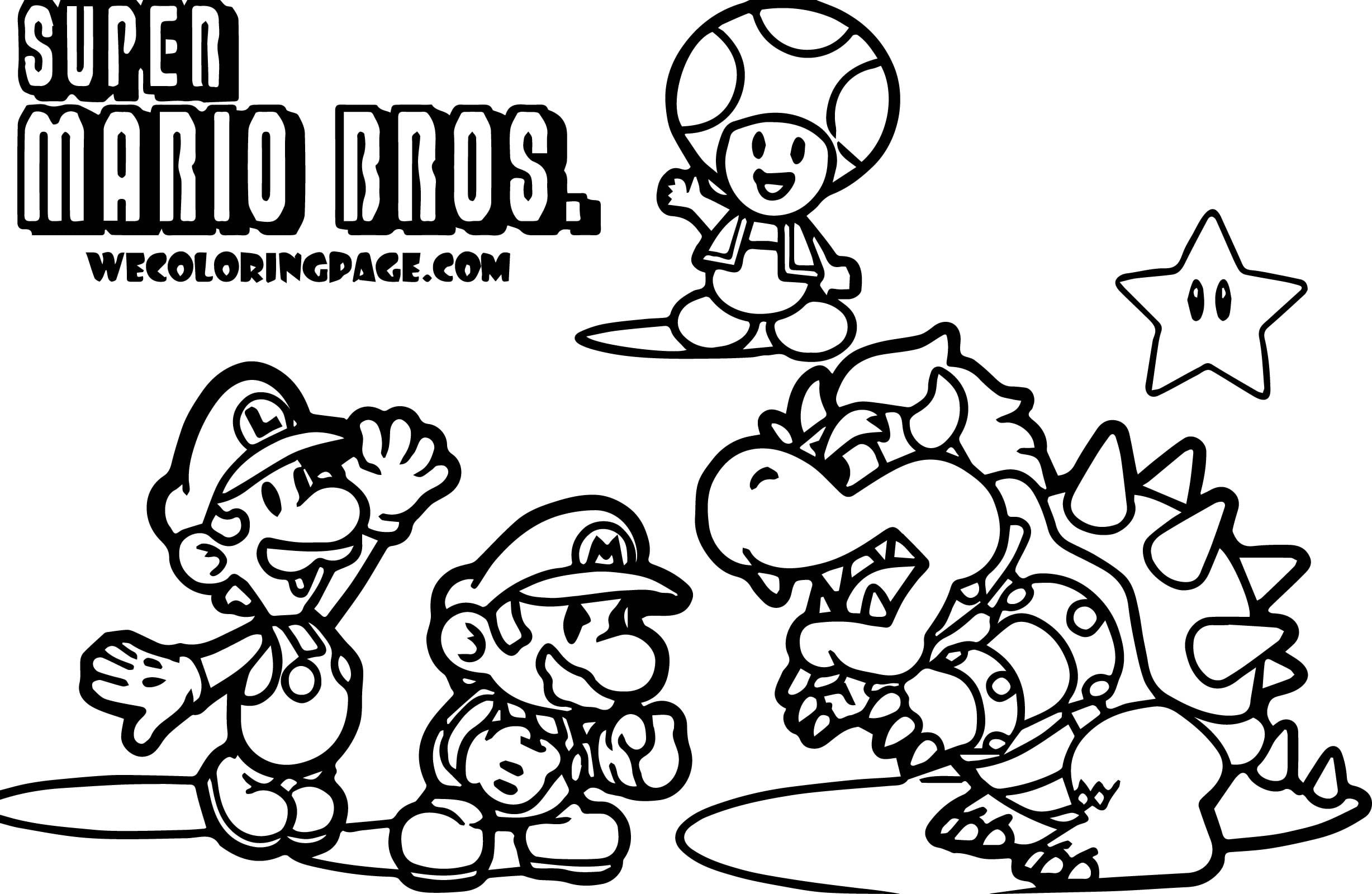 Super Mario Bros Coloring Pages Free New Brothers