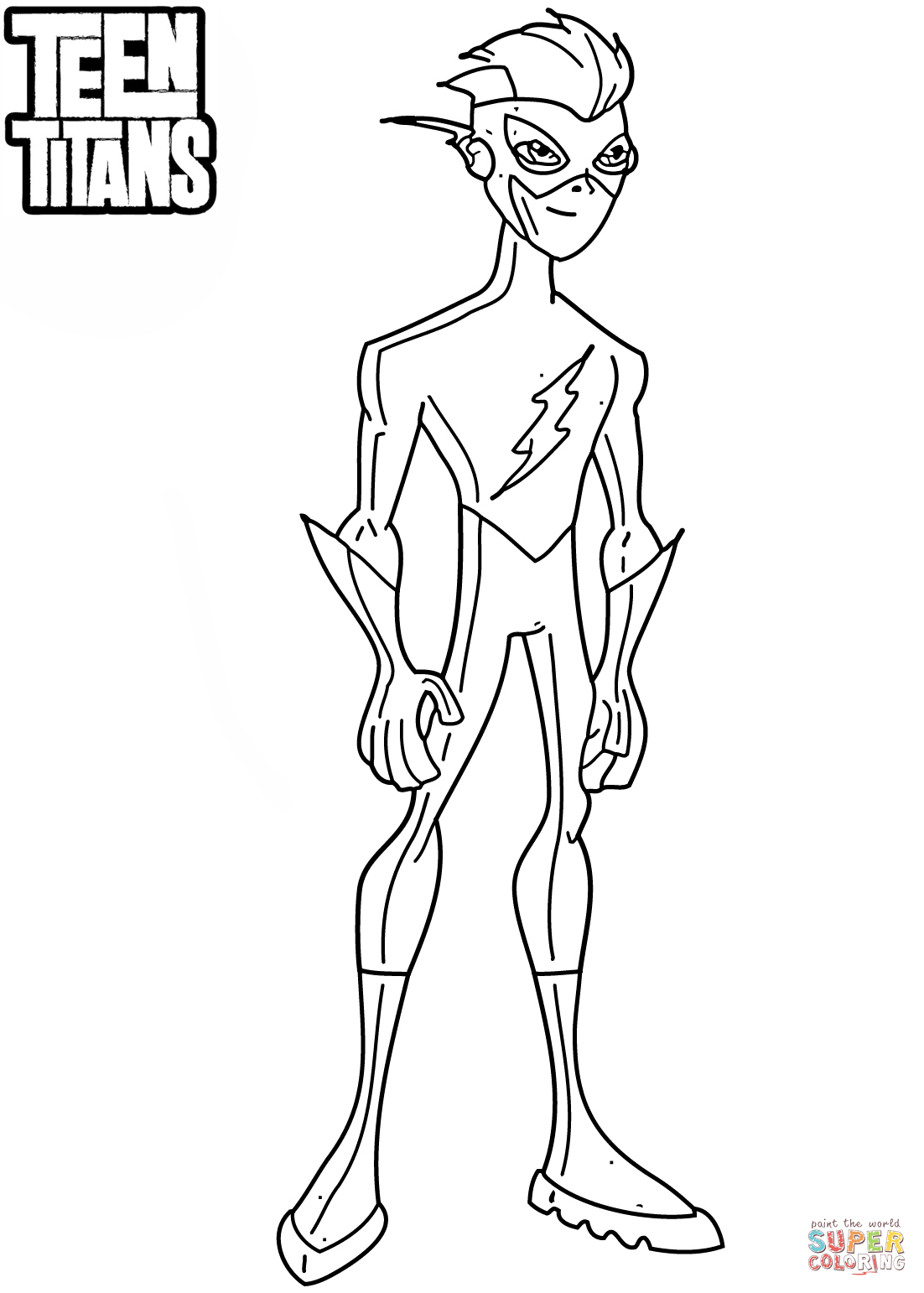 Teen Titans Kid Flash Coloring Page