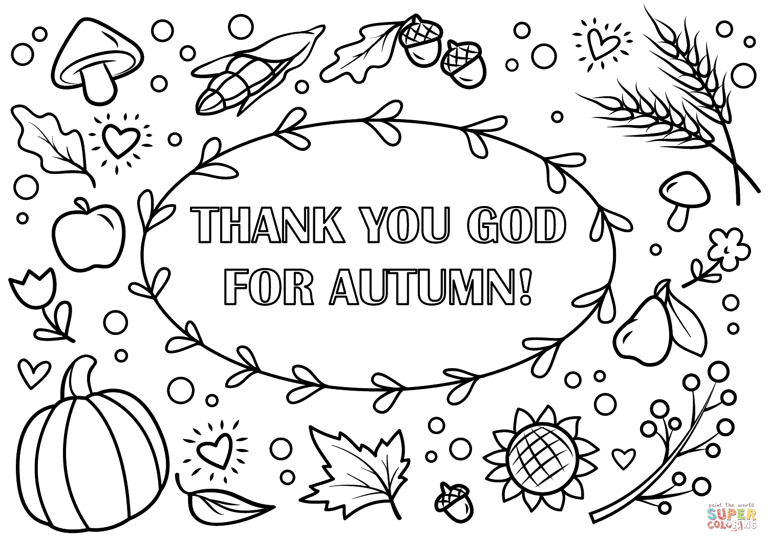 Thank You God For Autumn! Coloring Page