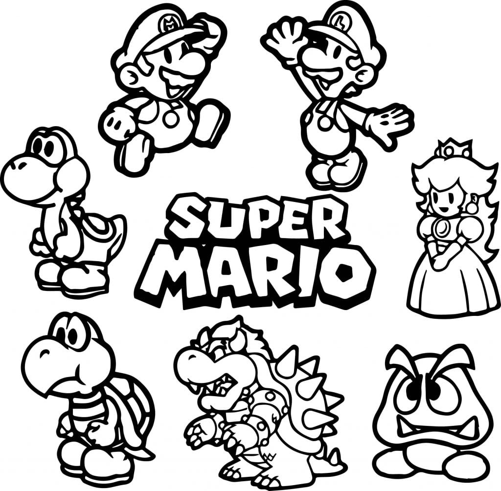 Wonderful Super Mario Brothers Coloring Pages Printable  2570