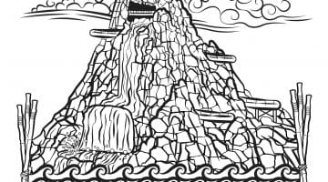 Volcano Coloring Book Pages