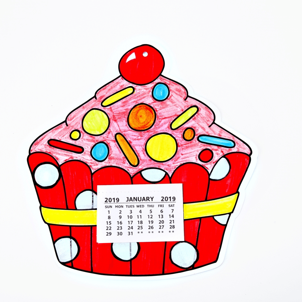 Cupcake Colour In Calendar Craft Kit