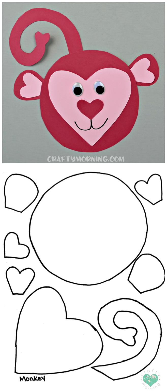 Free Heart Hippo Template Free Heart Monkey Printable Template