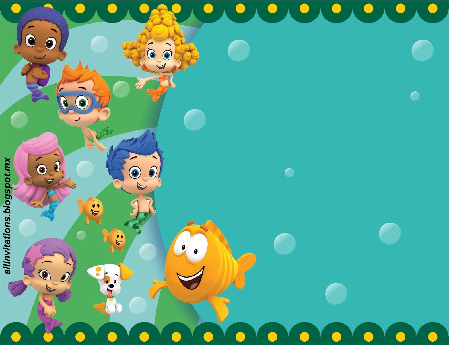 Get Free Printable Bubble Guppies Baby Shower Invitation Ideas