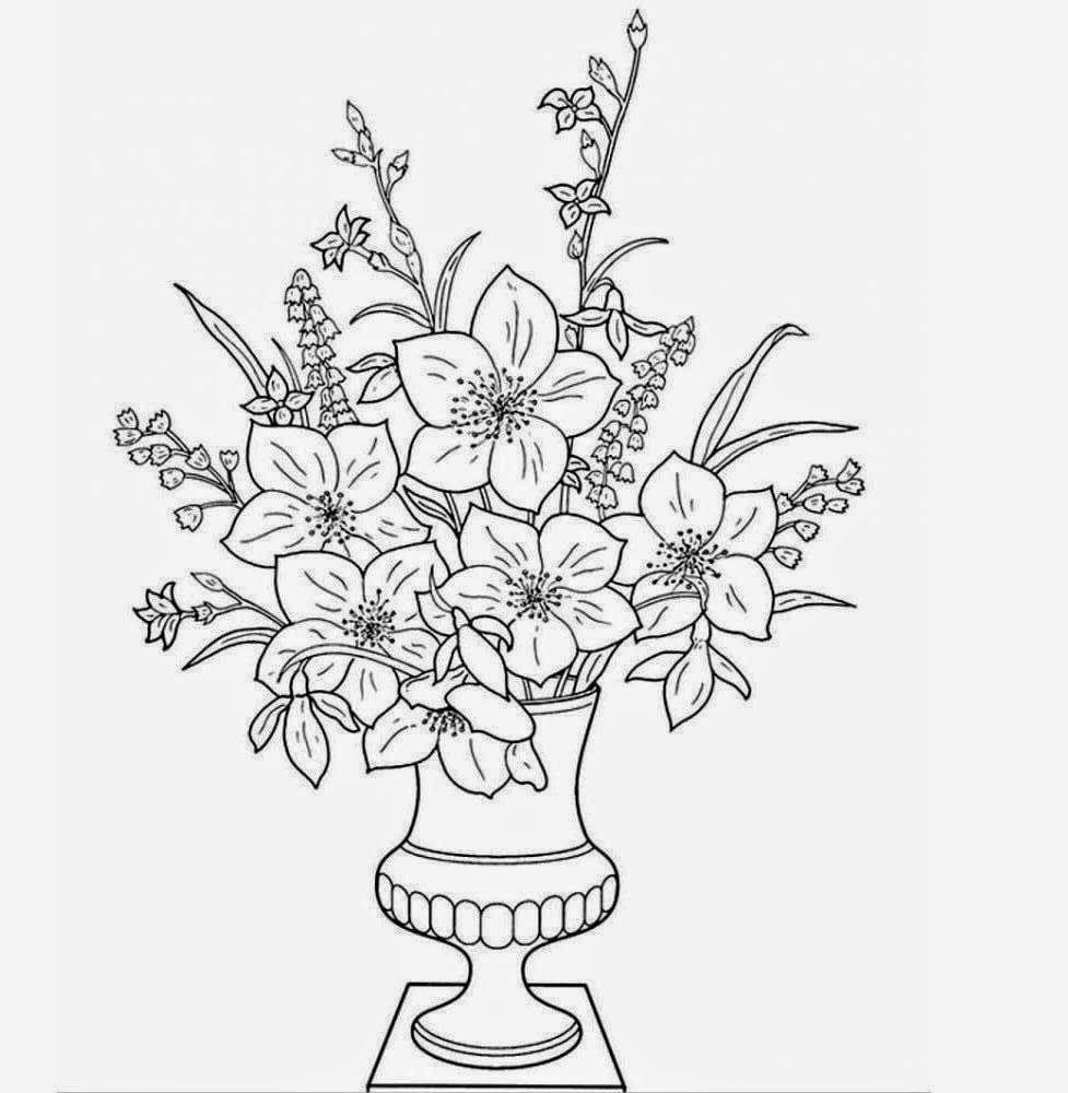 Flower Vase Drawing With Colour