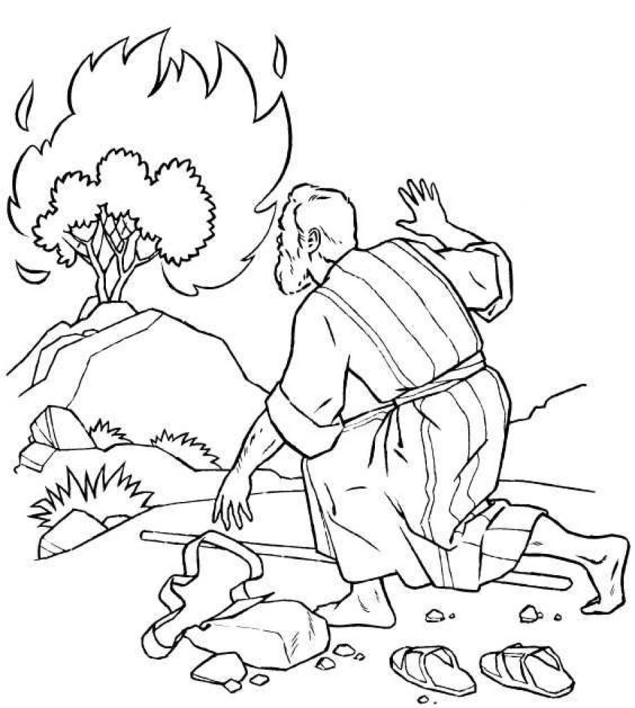 The Incredible Moses Burning Bush Coloring Page To Encourage In
