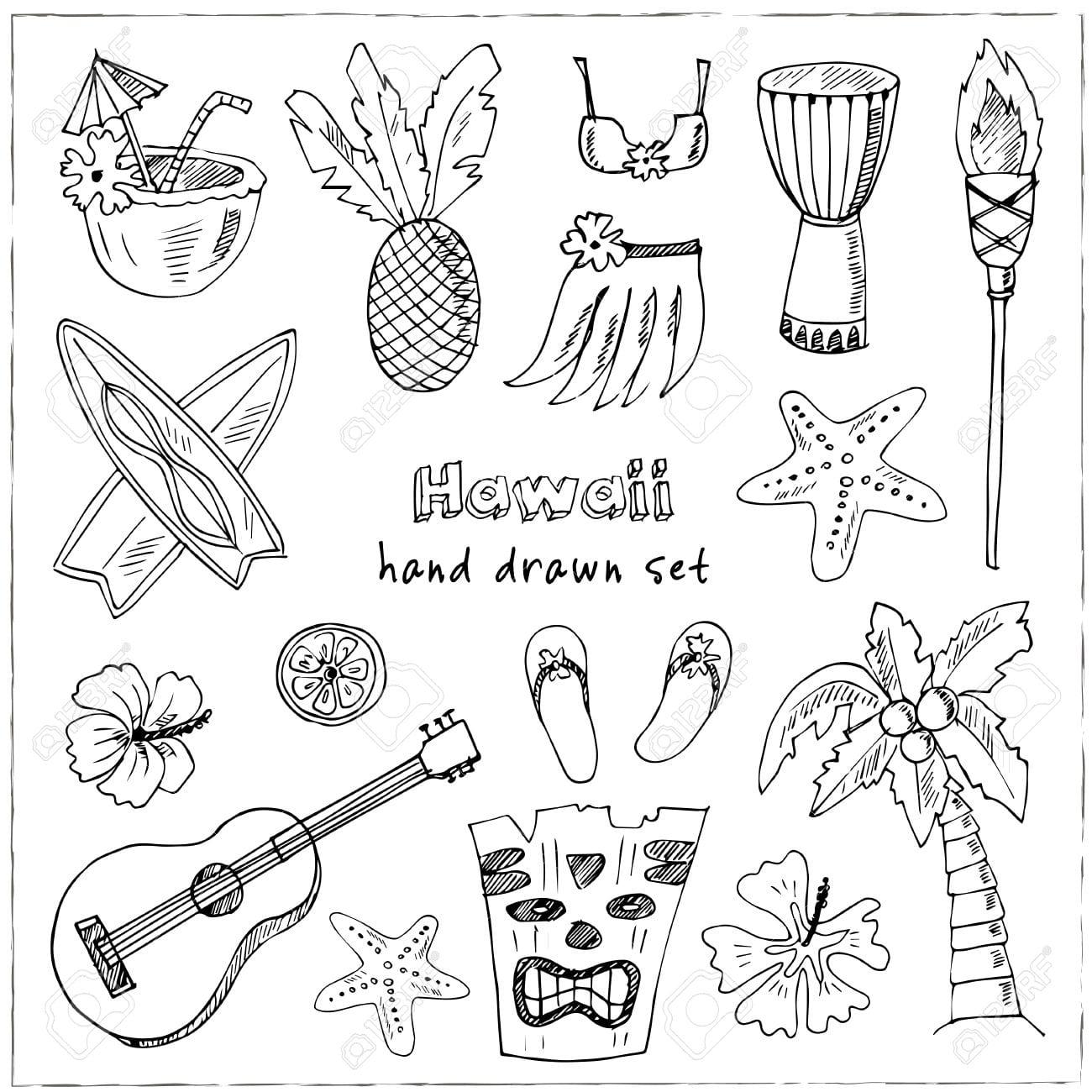 Hawaii Symbols And Icons, Including Hula Skirt, Tiki Gods, Totem