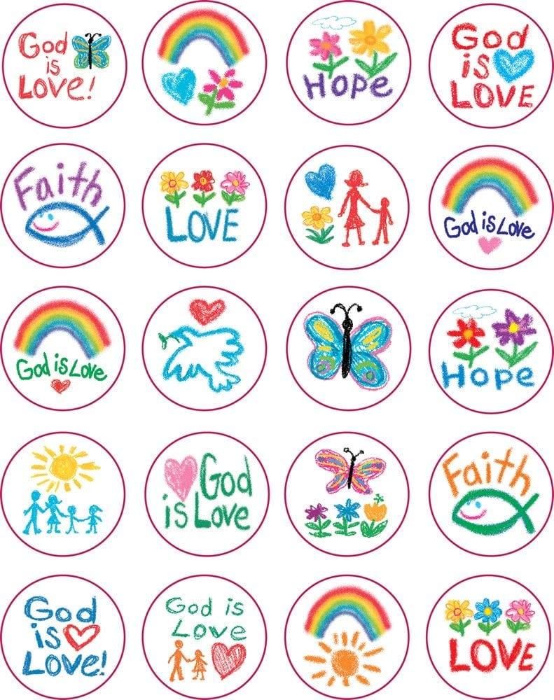 Amazon Com  Carson Dellosa 5239 Kid Drawn Christian Faith Circle