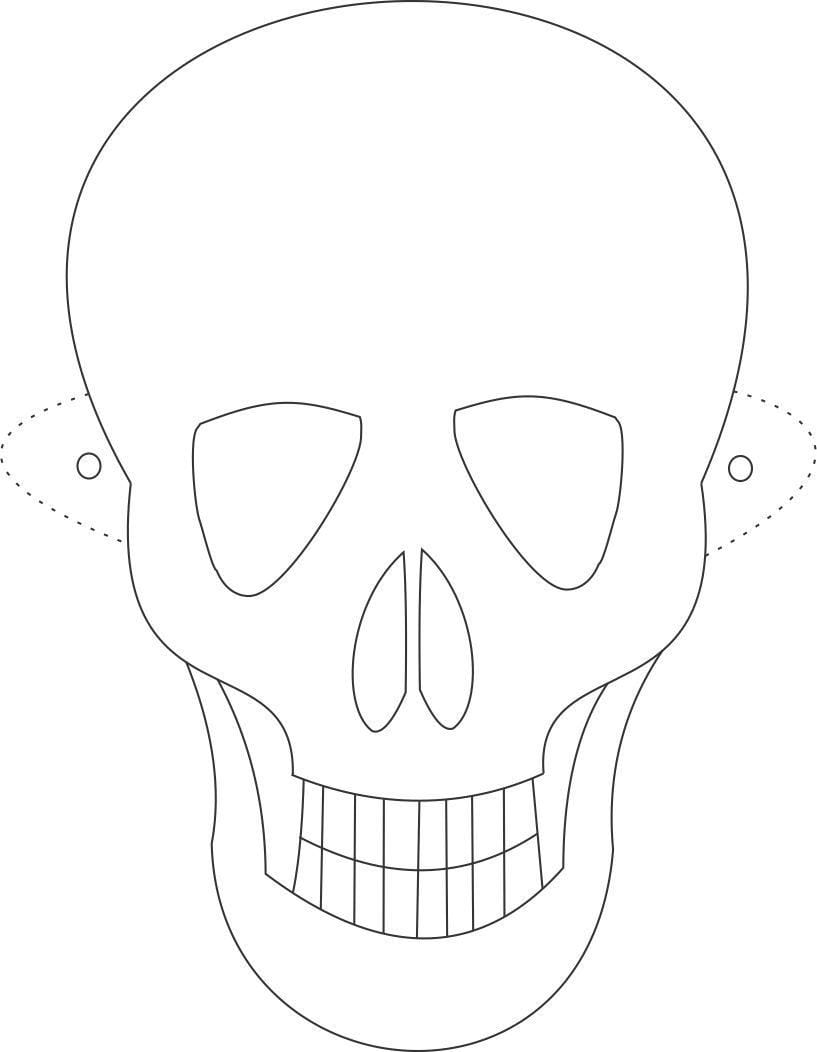 Skull Mask Coloring Pages, Printable Skull Mask Coloring Pages