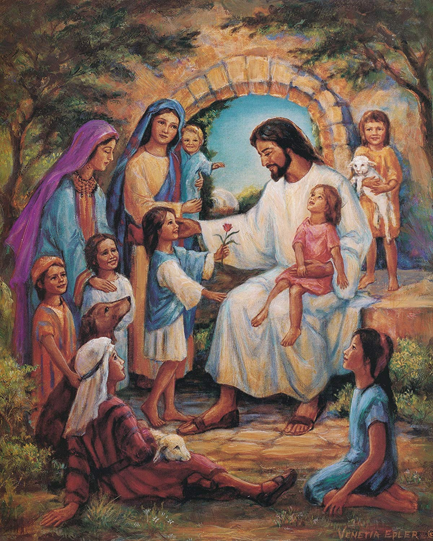 Amazon Com  Jesus Christ With Children Religious Home Decor Wall