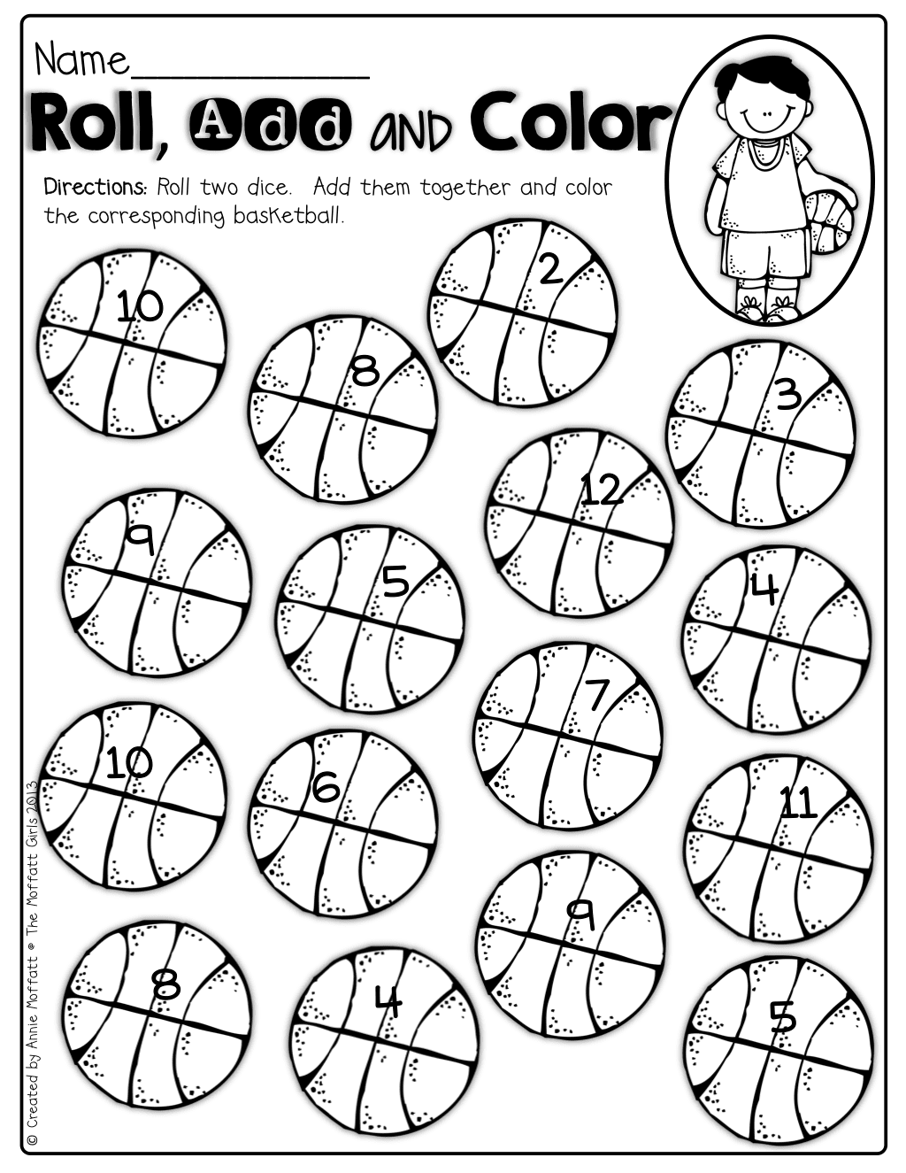 Roll 2 Dice, Add The Up And Color The Basketball! Such A Fun Way