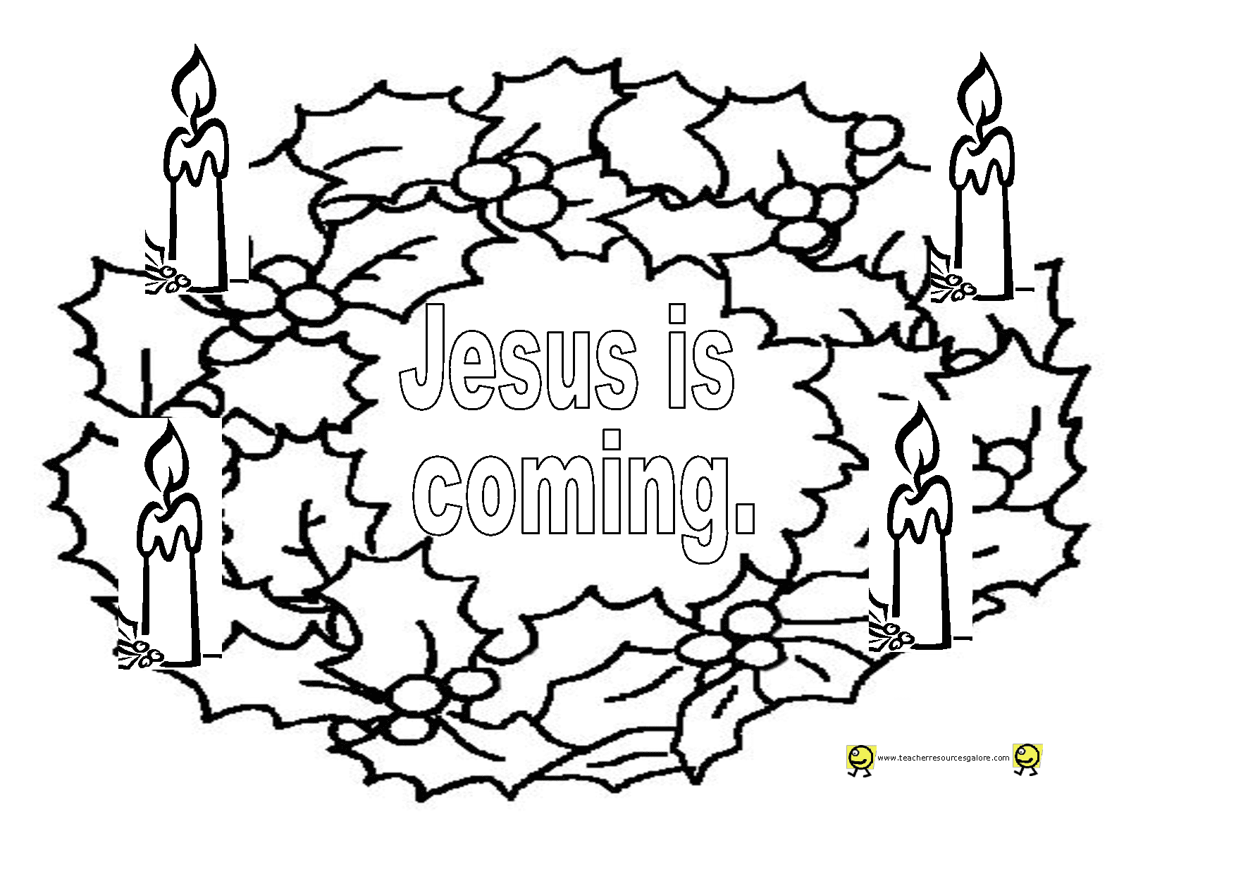 Picture Of Advent Wreath For Coloring - NEO Coloring