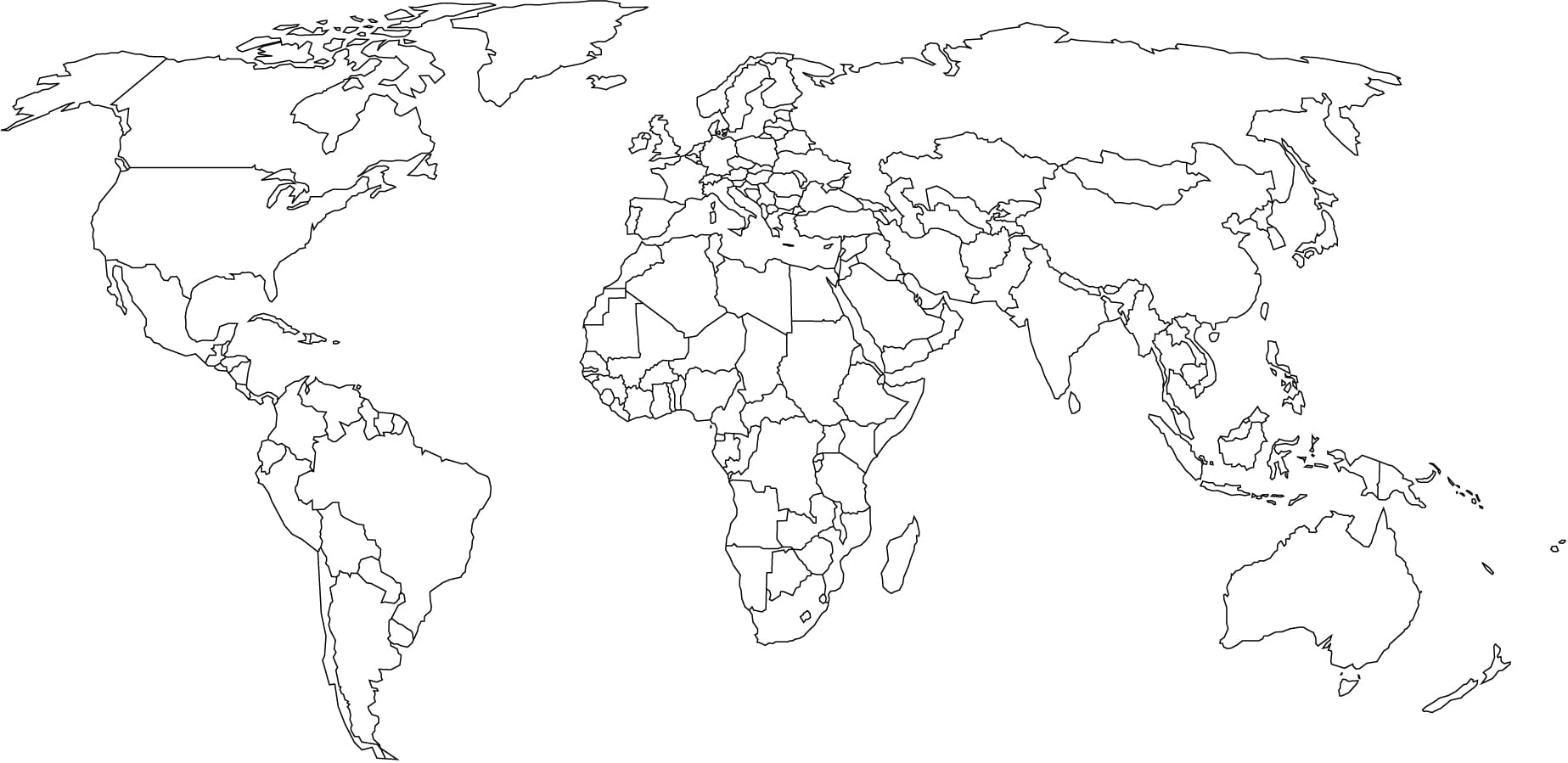 World Map To Color