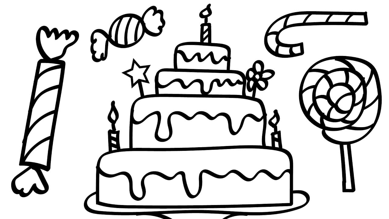 Birthday Cake And A Lot Of Candy Coloring Pages Kids Fun Art