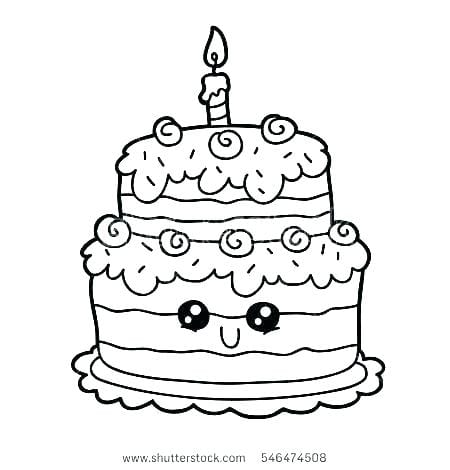 Birthday Cake Color Page 1024×730 Coloring Pages 2