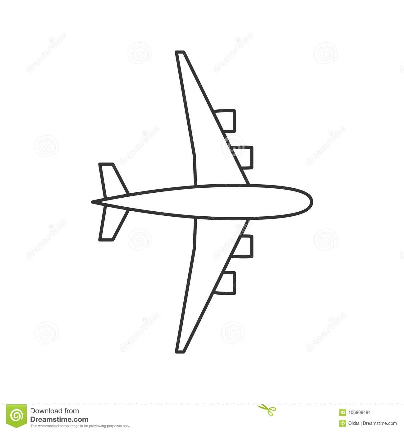 Black Outline Isolated Airplane On White Background  Line View