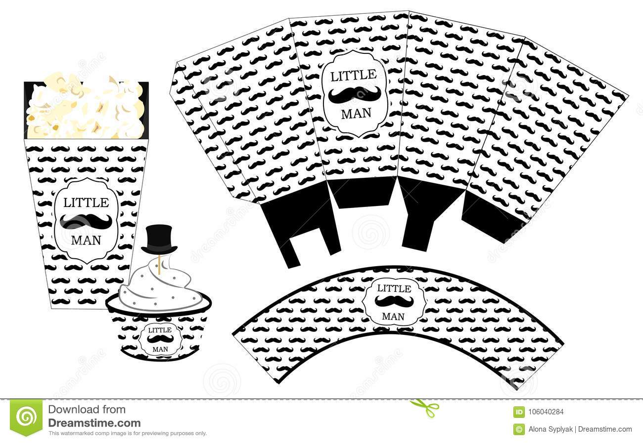 Popcorn Paper Box  Cupcake Wrapper  Printable Template For Little