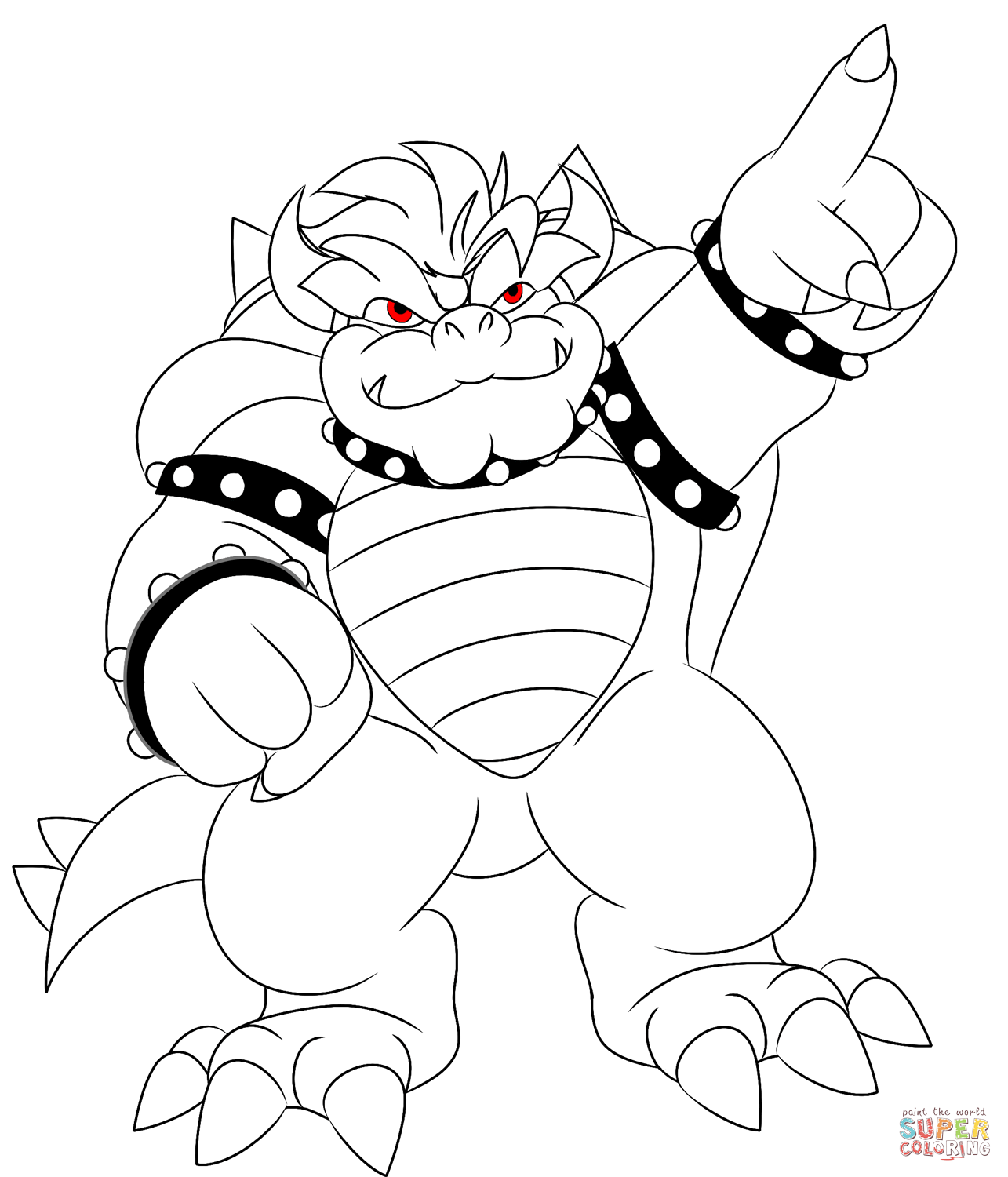 Bowser Pointing Bowser2queen Coloring Page On Bowzer Pages