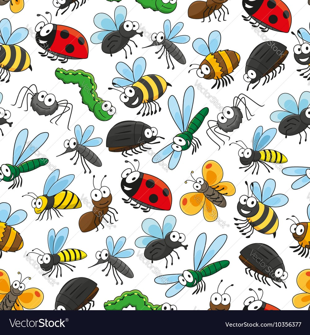 Bugs And Insects Funny Cartoon Wallpaper Vector Image