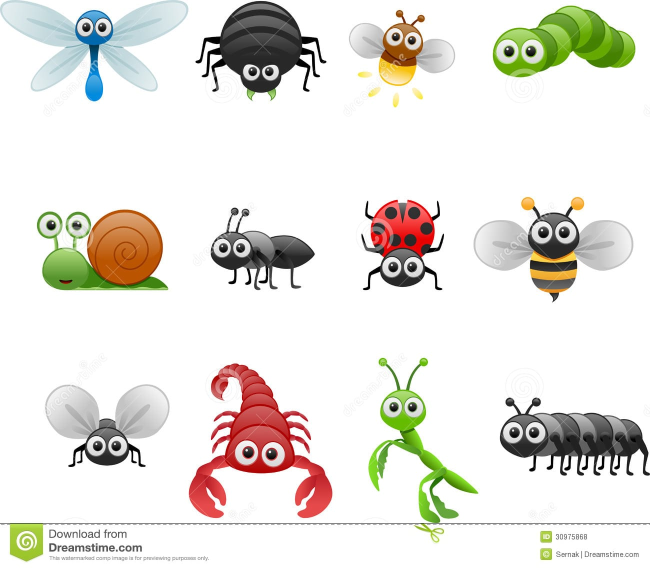 Cartoon Insect Set Stock Vector  Illustration Of Cartoon