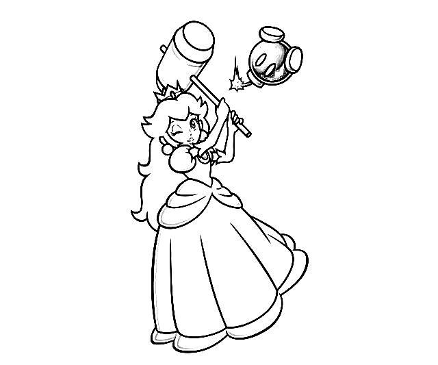Mario Princess Peach Coloring Pages To Print Mario Bros Princess
