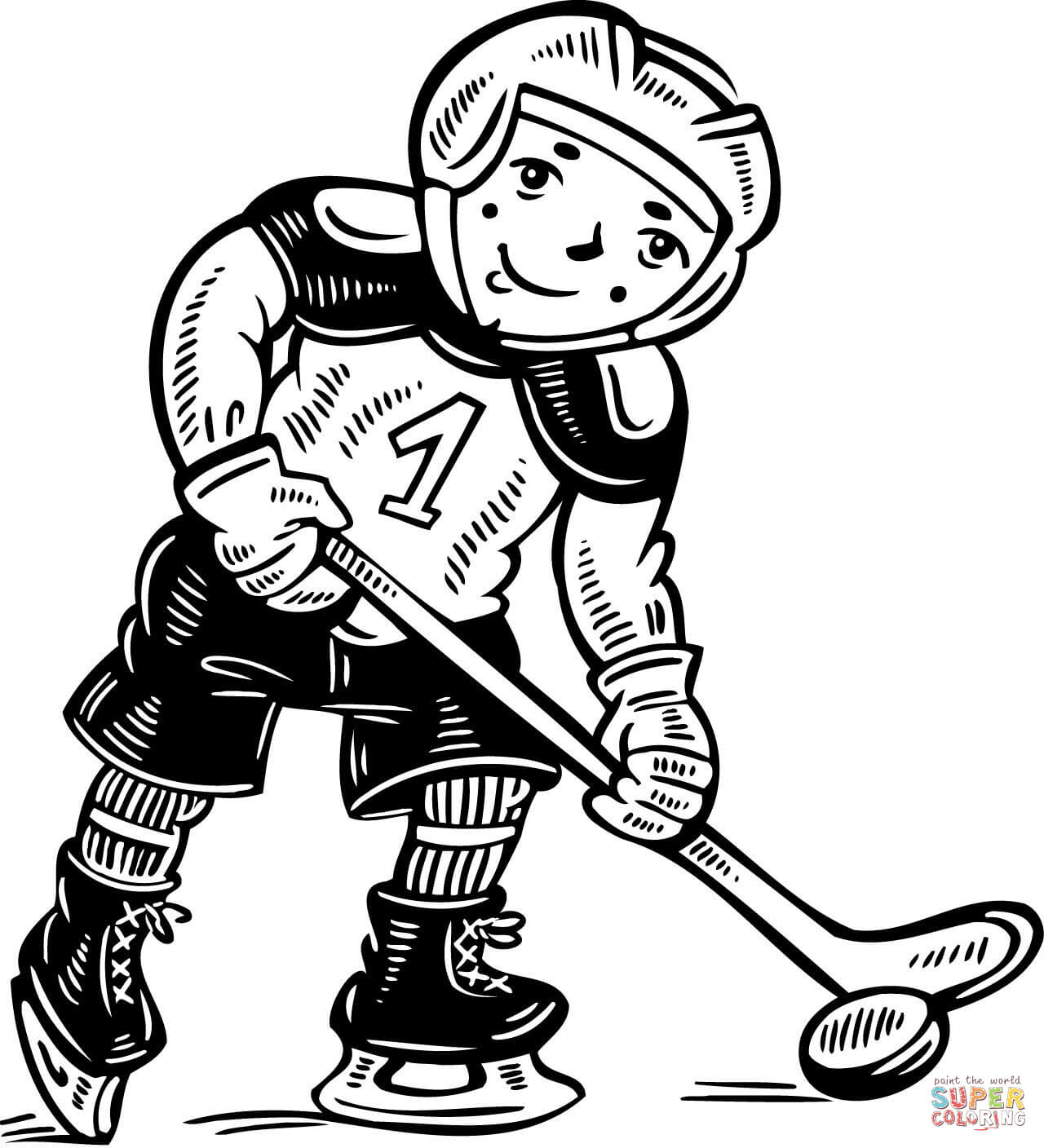 Child Hockey Player Coloring Page
