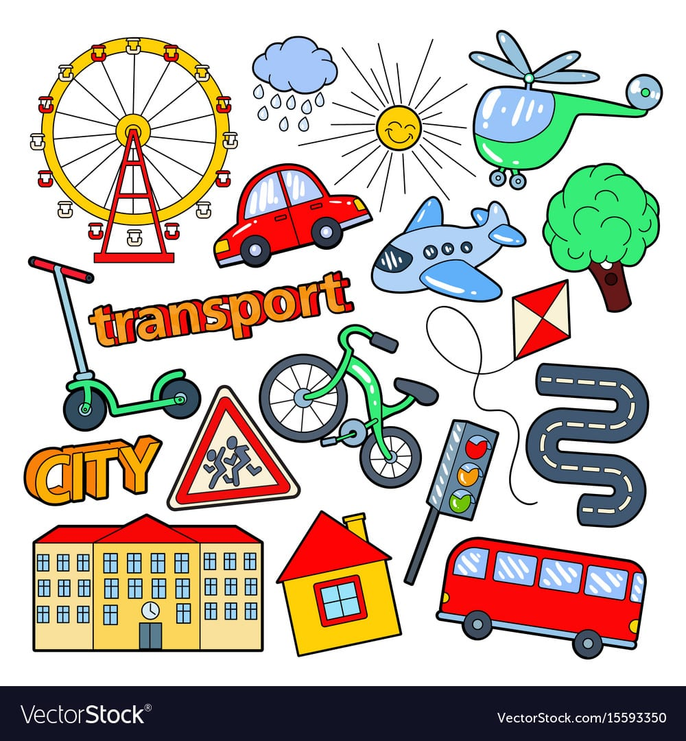 Children Transport Doodle With Bicycle Royalty Free Vector