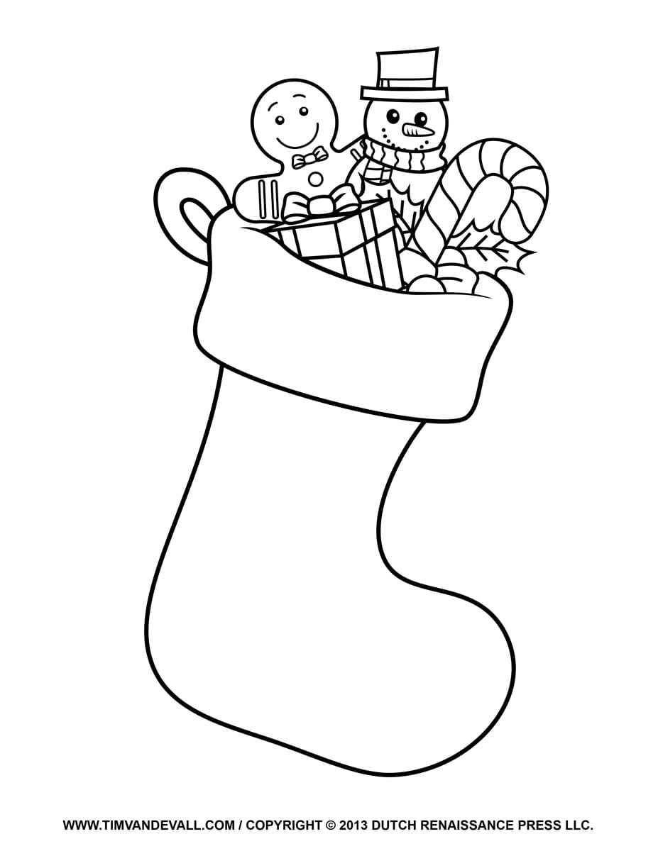 Christmas Stocking Picture Black And White Stock Printables