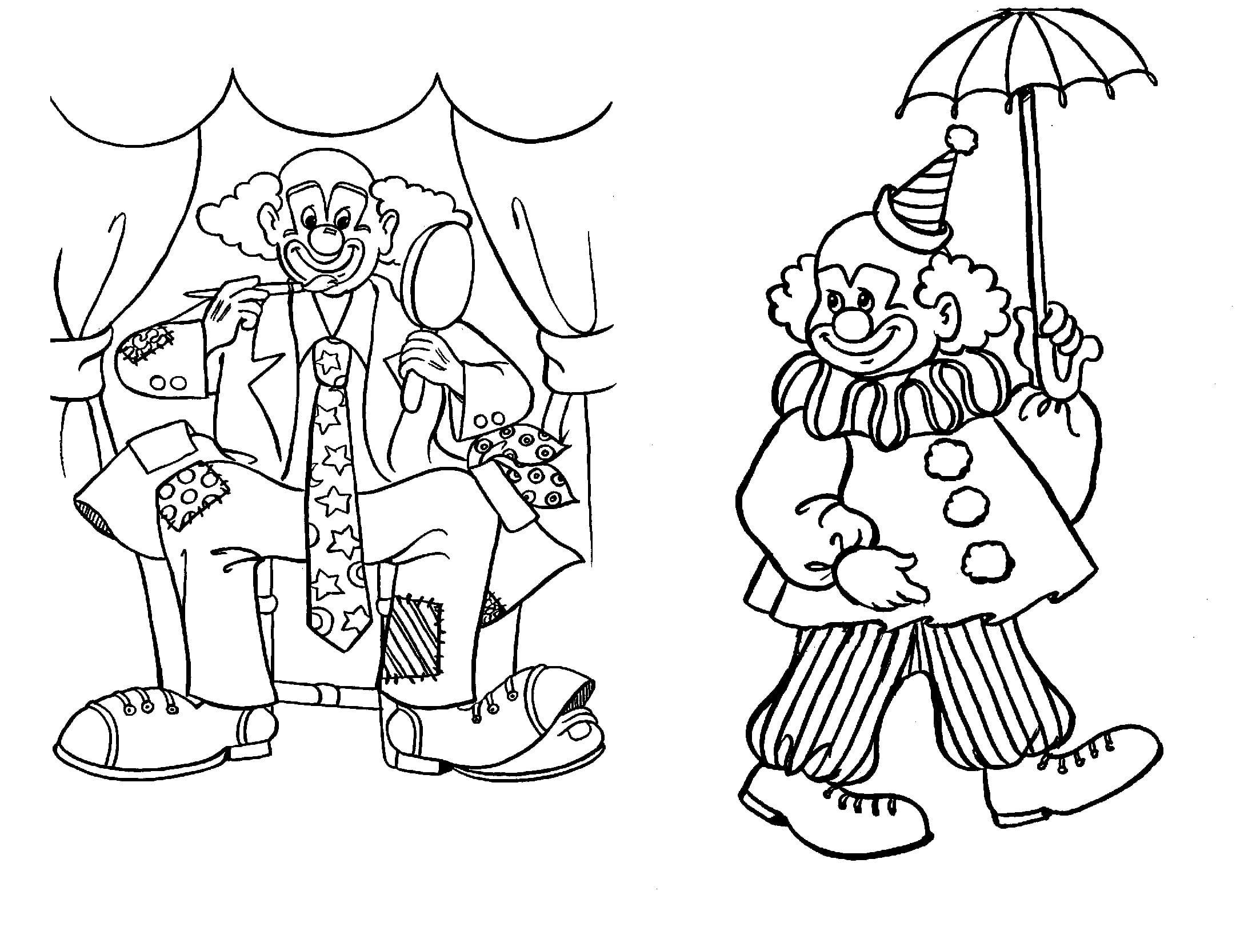 Printable Clown Coloring Sheets