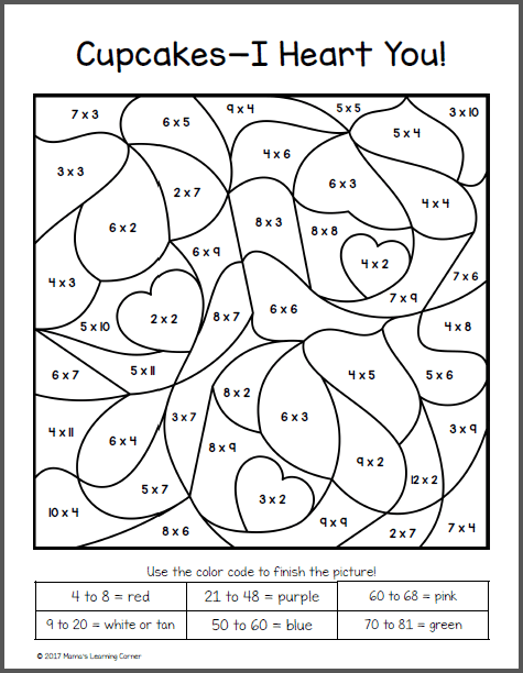 Color By Numbers Multiplication Worksheets  646271