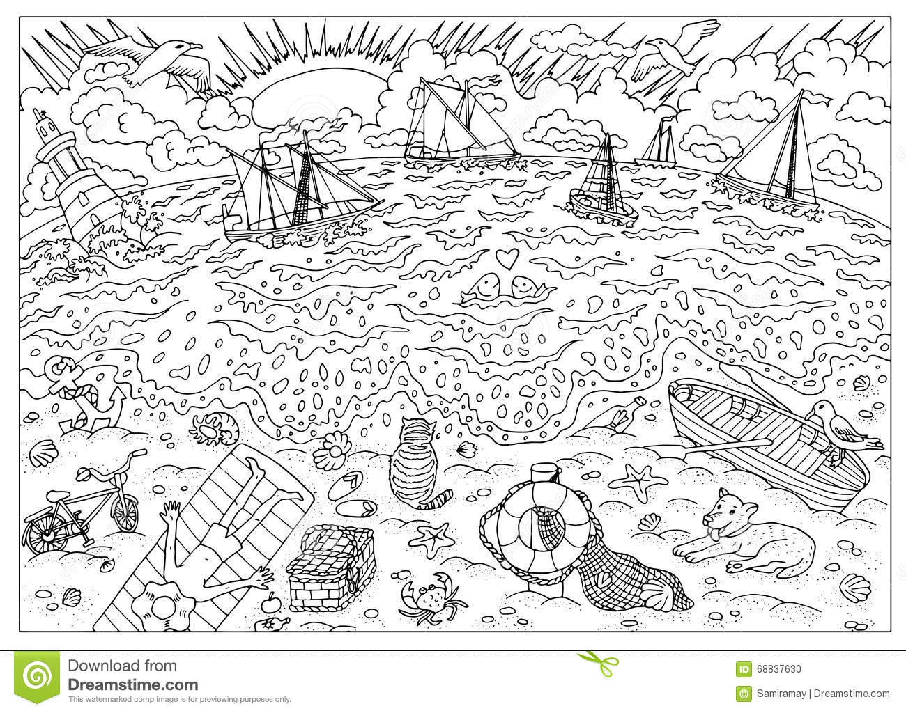 Coloring Book Page  Beach After Storm Stock Vector