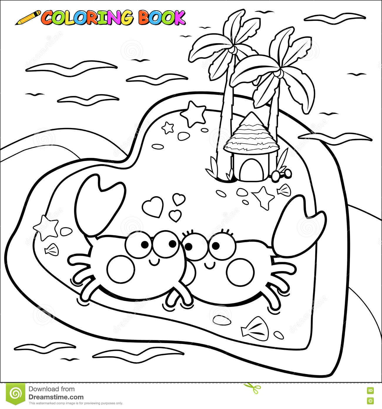 Crabs Walking On The Beach Coloring Book Page Stock Vector