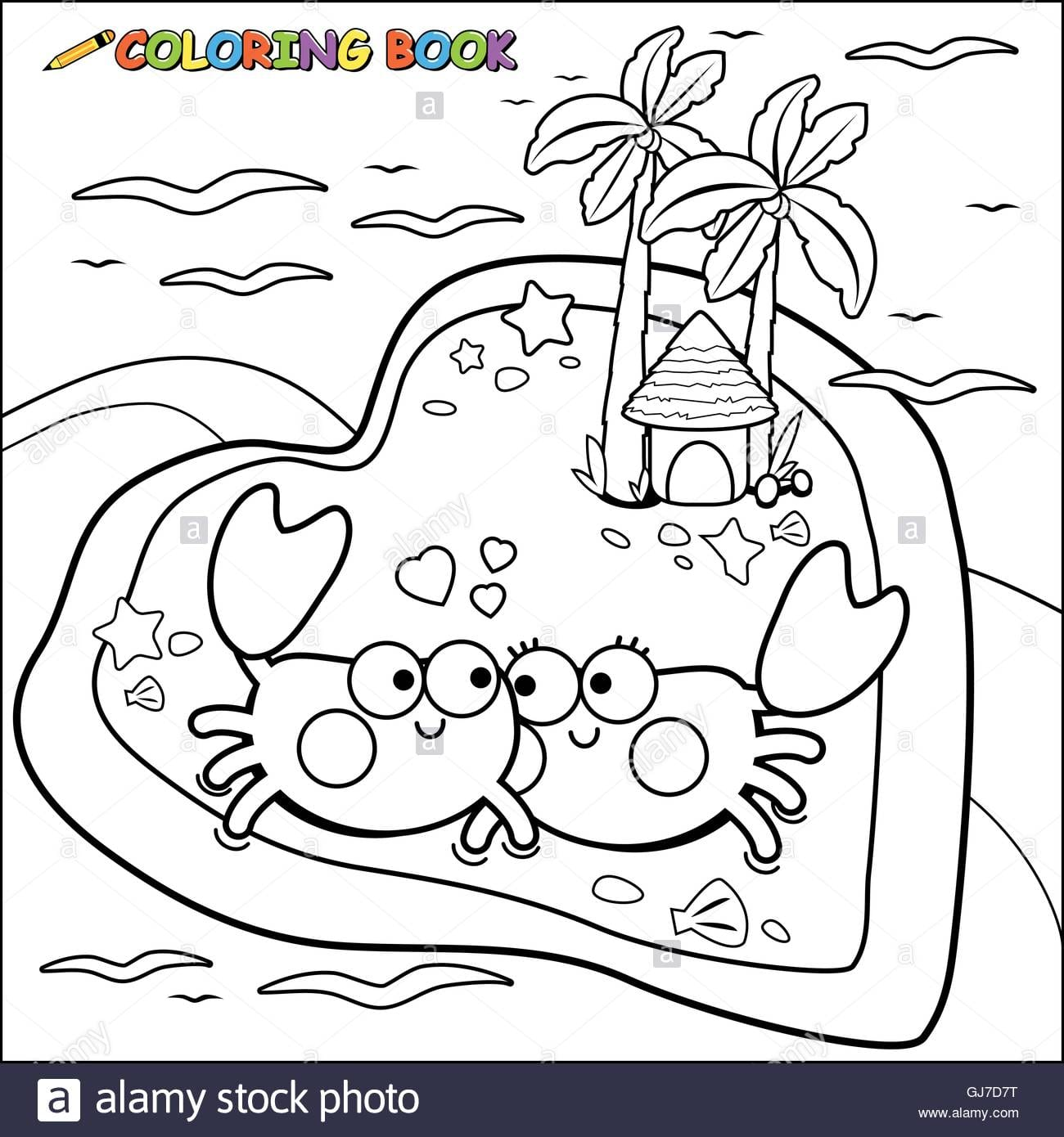 Crabs Walking On The Beach Coloring Book Page Stock Vector Art