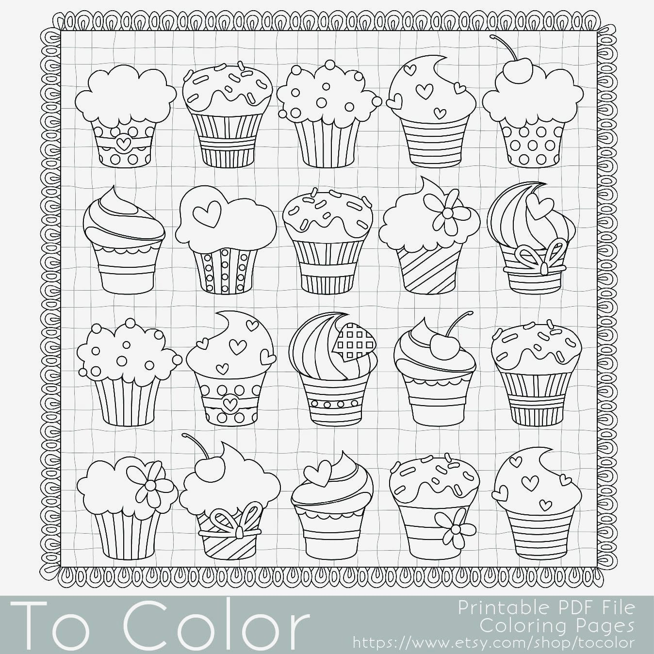 Cupcake Coloring Pages Free Printable Cupcake Coloring Pages New