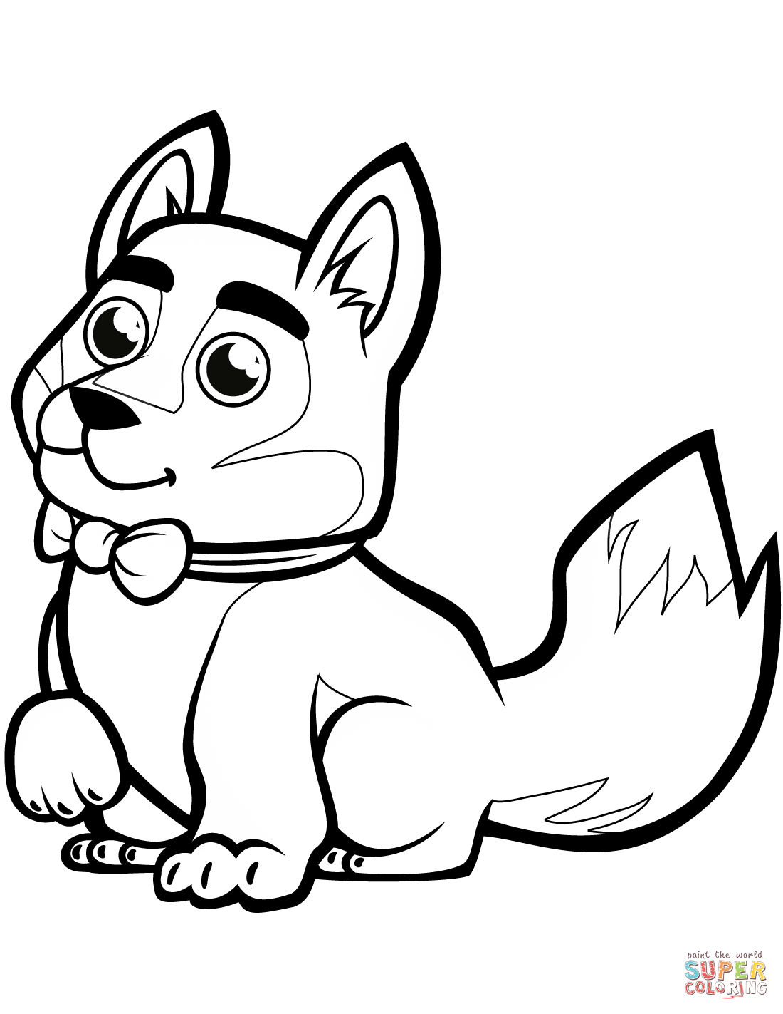 Cute Baby Husky With A Bowtie Coloring Page