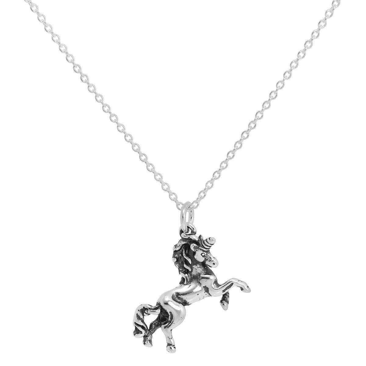 Sterling Silver Prancing Unicorn Necklace On Trace Chain