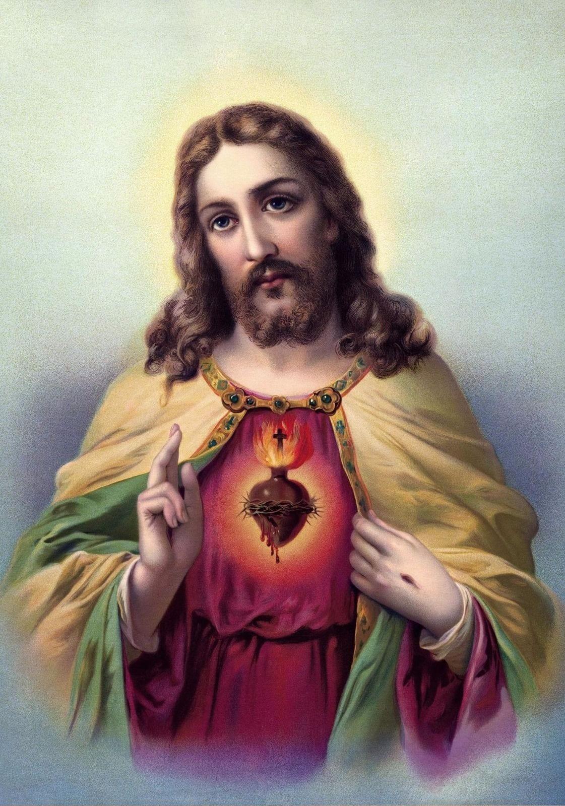 Sacred Heart Of Jesus Print Jesus Christ Poster A3 Jesus Painting