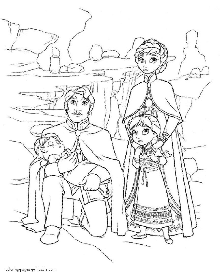 Disney Princess Coloring Pages Frozen Elsa S Sisters Princesses