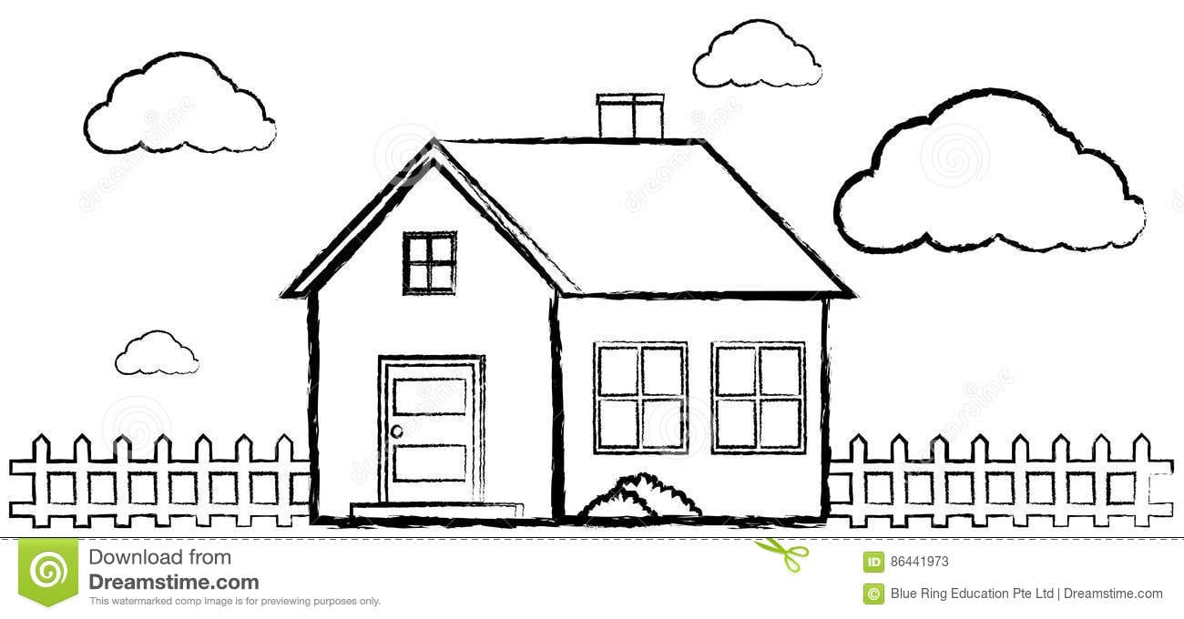 Doodle Of Single House Without Color Stock Vector