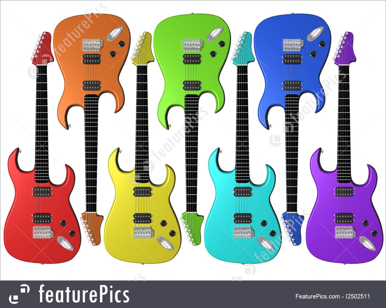 Illustration Of Rainbow Colored Electric Guitars