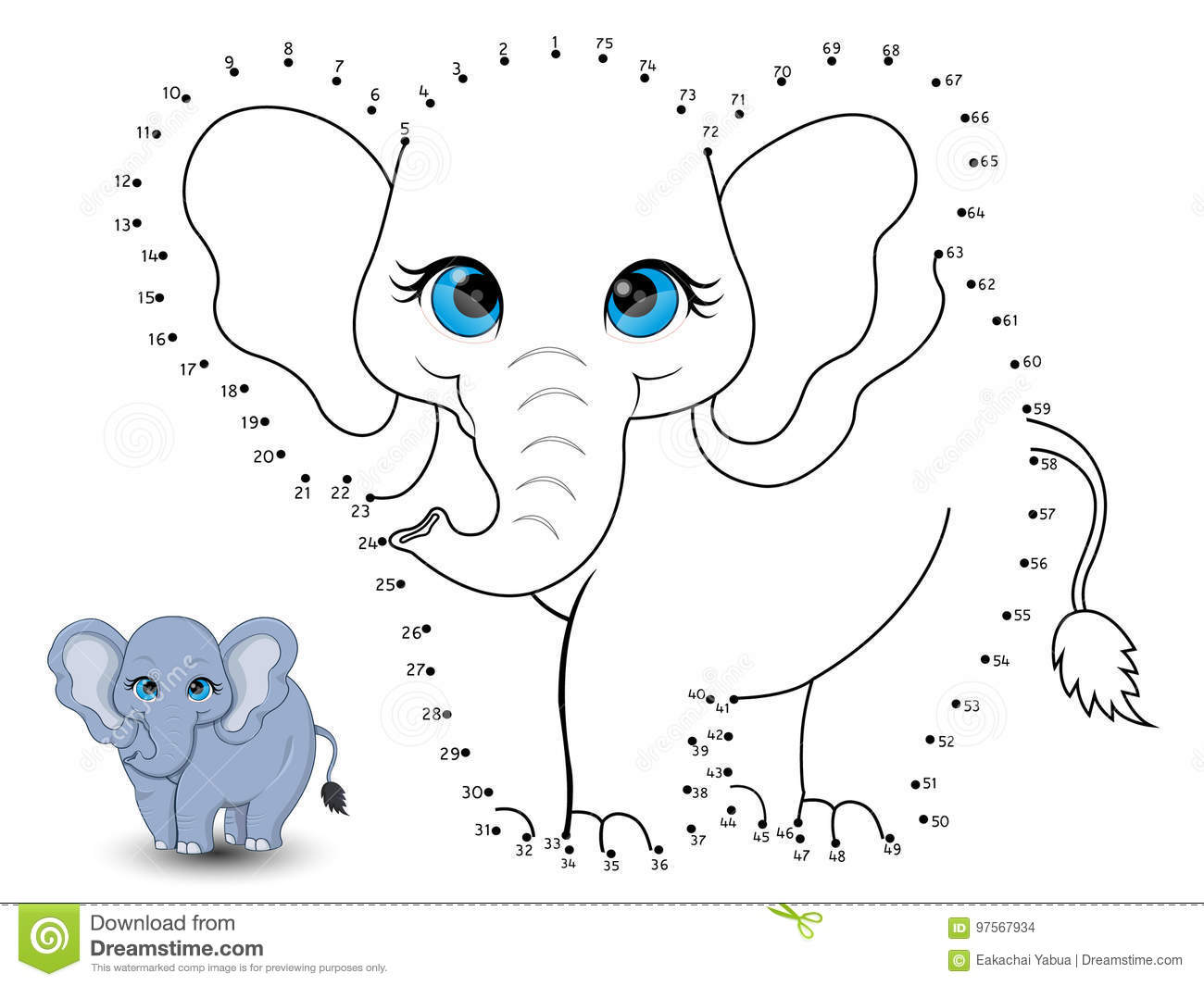 Elephant Connect The Dots And Color Stock Vector