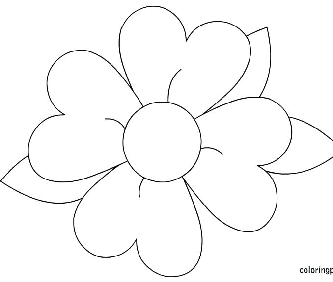 Enchanting Simple Flower Coloring Pages Coloring For Funny